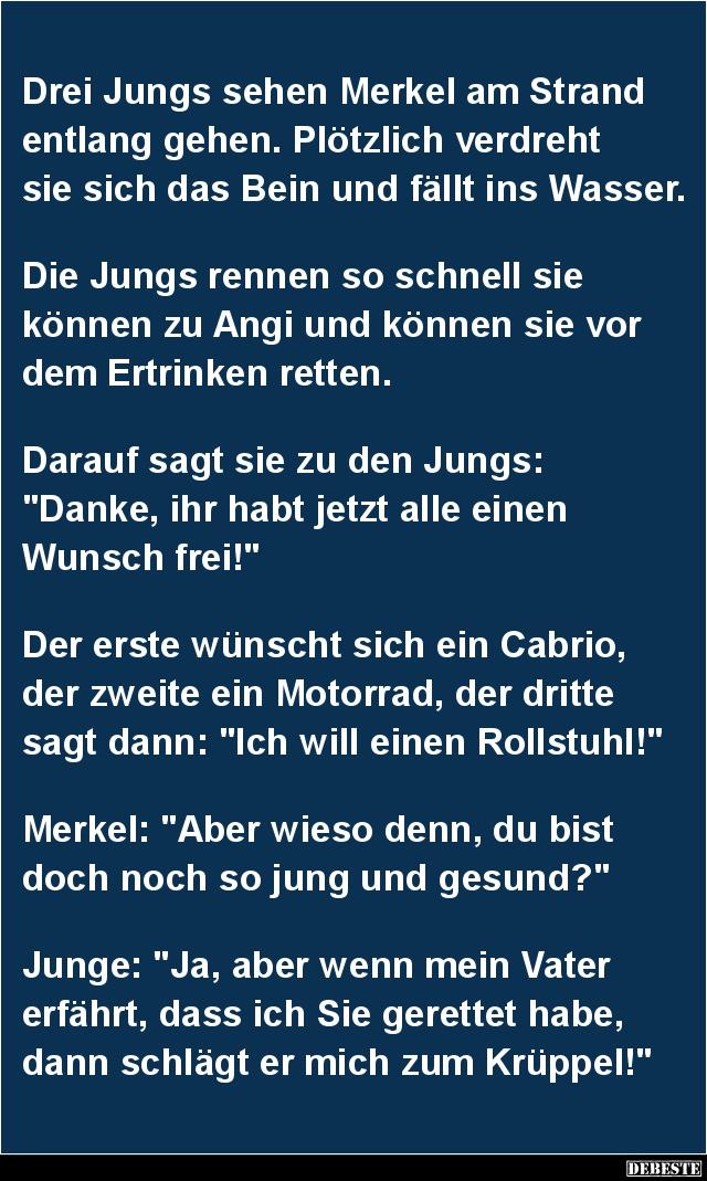 Drei Jungs sehen Merkel am Strand entlang gehen.. | Lustige Bilder