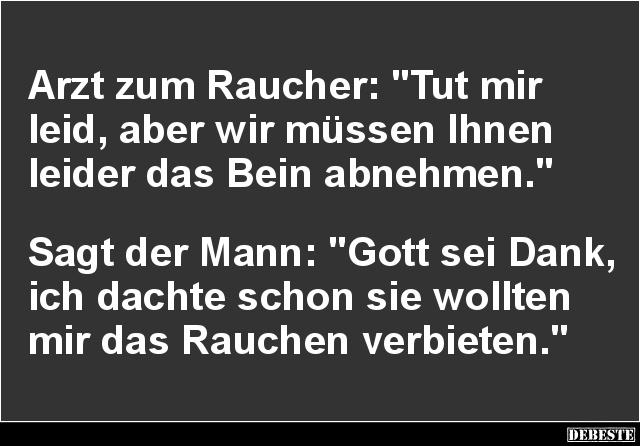 Arzt Zum Raucher: U0027Tut Mir Leid, Aber Wir Müssenu0027.