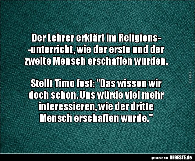 Der Lehrer erklärt im Religionsunterricht, wie der..   Lustige