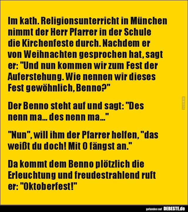 Im kath. Religionsunterricht in München nimmt der Herr..   Lustige