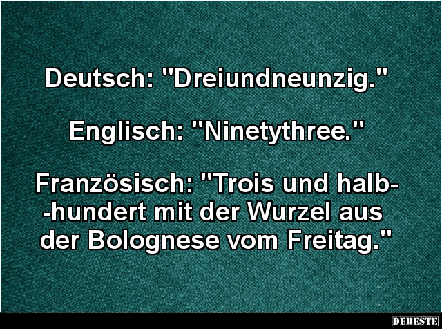 Deutsch Dreiundneunzig Englisch Ninetythree Lustige