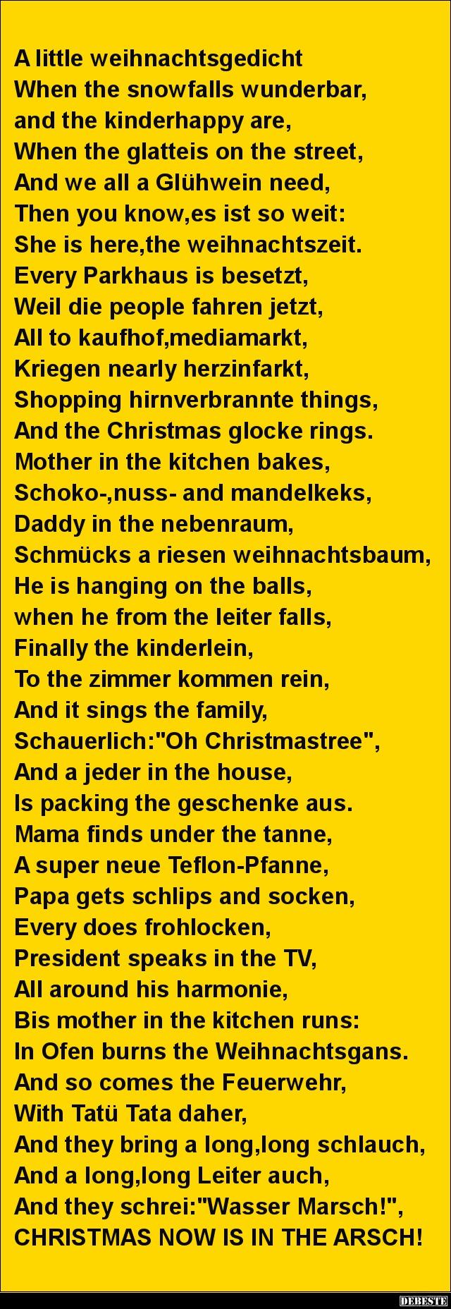 Ein weihnachtsgedicht lustig