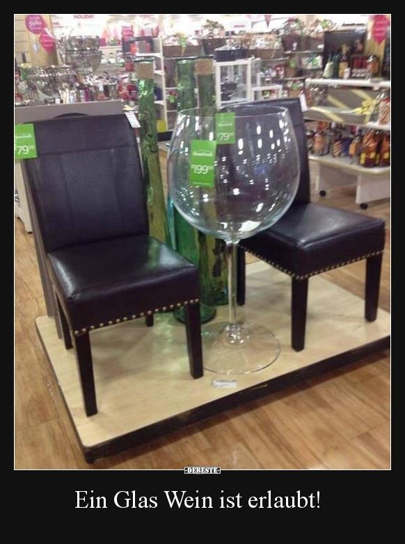 Ein Glas Wein ist erlaubt! | Lustige Bilder, Sprüche