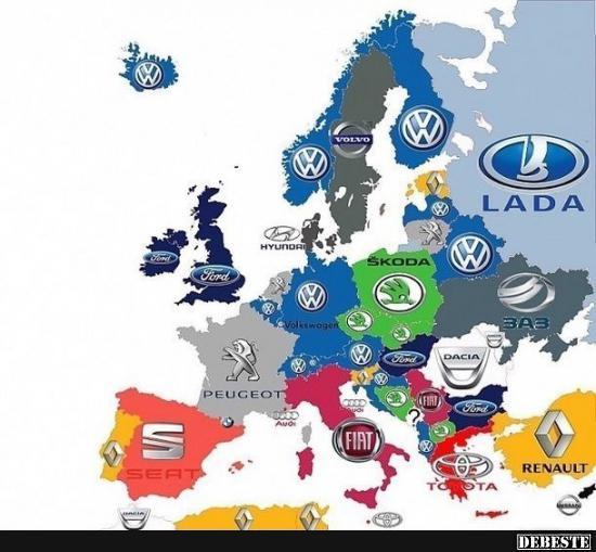 Die beliebtesten Automarken in Europa | Lustige Bilder, Sprüche