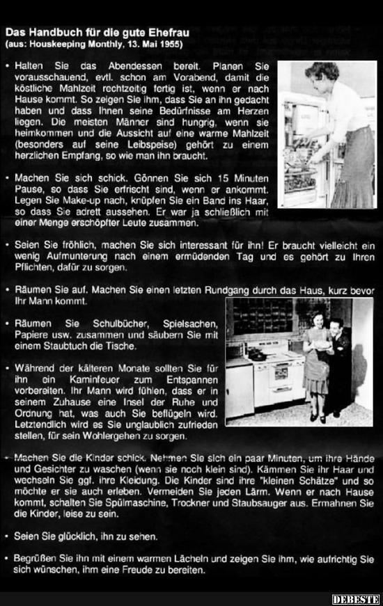 Das Handbuch für die gute Ehefrau..   Lustige Bilder