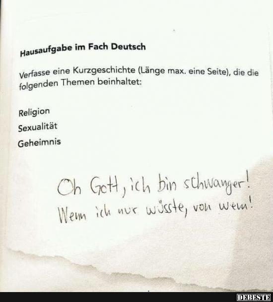 Hausaufgabe Im Fach Deutsch Lustige Bilder Spruche Witze Echt