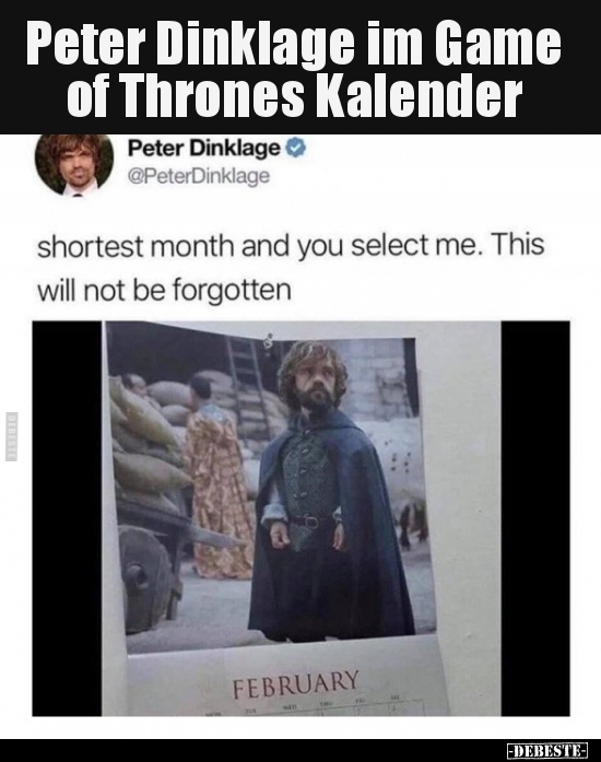 Peter Dinklage Im Game Of Thrones Kalender Lustige Bilder