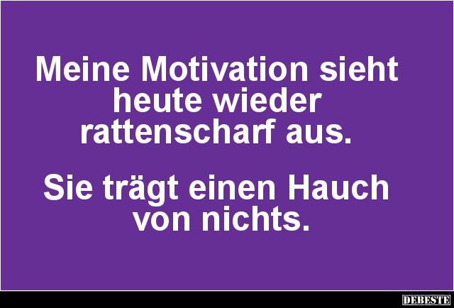 sprüche motivation lustig Meine Motivation sieht heute wieder rattenscharf aus.. | Lustige  sprüche motivation lustig