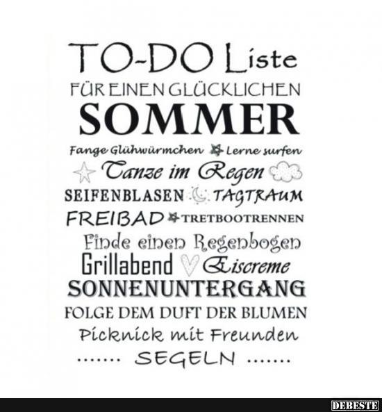 sprüche sommer To do Liste für einen glücklichen Sommer.. | Lustige Bilder  sprüche sommer