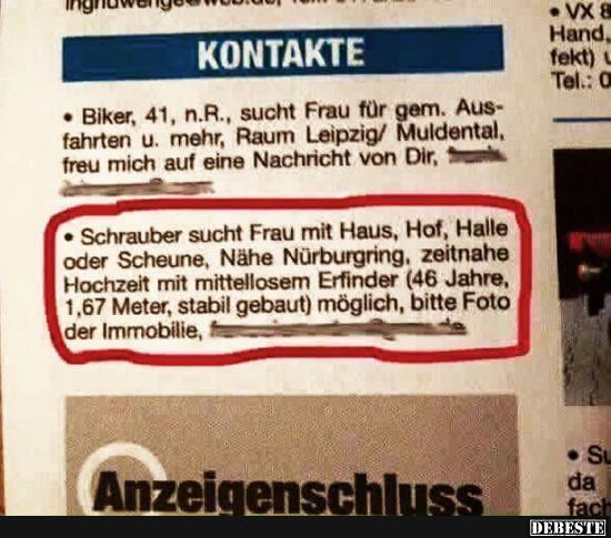 Schrauber Sucht Frau Mit Haus Lustige Bilder Spruche Witze