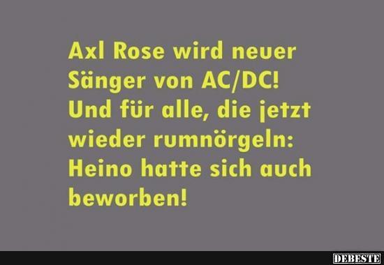 Axl Rose wird neuer Sänger von AC/DC! | Lustige Bilder, Sprüche