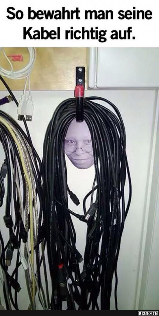 so bewahrt man seine kabel richtig auf lustige bilder spr che witze echt lustig. Black Bedroom Furniture Sets. Home Design Ideas