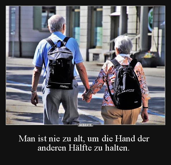 Man Ist Nie Zu Alt Um Die Hand Der Anderen Hälfte Zu Halten