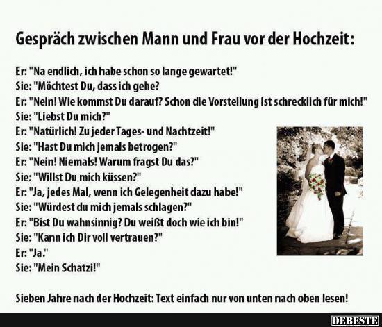 Gesprach Zwischen Mann Und Frau Vor Der Hochzeit Lustige Bilder