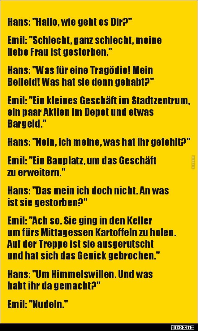 Hans Hallo Wie Geht Es Dir Lustige Bilder Spruche Witze Echt Lustig