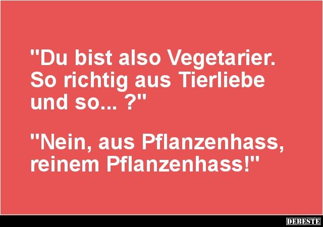 Du Bist Also Vegetarier So Richtig Aus Tierliebe Und So