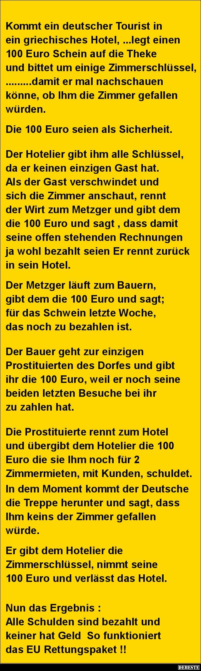 kommt ein deutscher tourist in ein griechisches hotel.. | lustige
