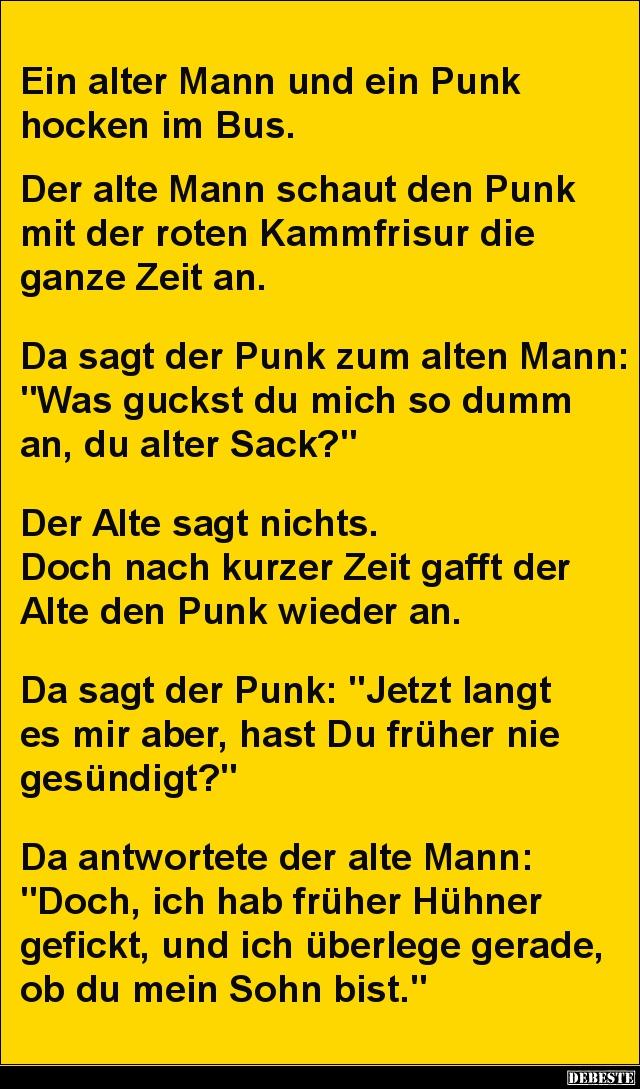 Ein Alter Mann Und Ein Punk Hocken Im Bus.