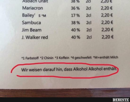 Wie weisen darauf hin dass alkohol alkohol enth lt - Lustige bilder alkohol ...
