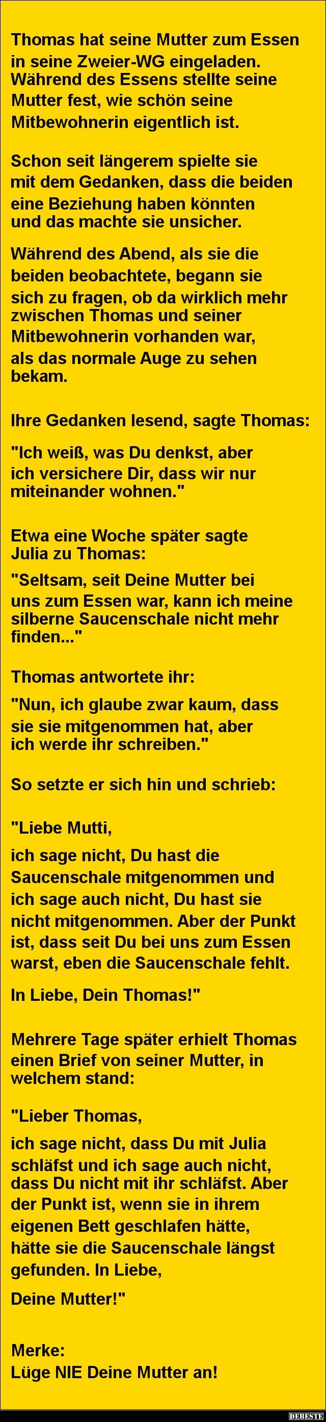 Thomas Hat Seine Mutter Zum Essen Eingeladen. » « .