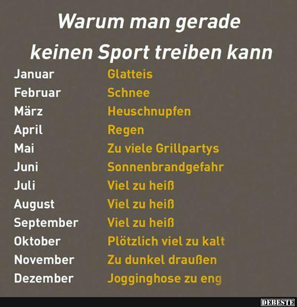 Warum man gerade keinen Sport treiben kann..   Lustige ...