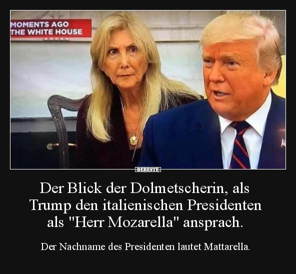 Der Blick der Dolmetscherin, als Trump den italienischen