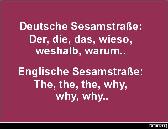 lustige deutsch englisch sprüche Deutsche / Englische Sesamstraße.. | Lustige Bilder, Sprüche  lustige deutsch englisch sprüche