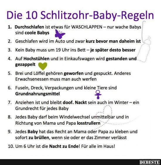 Die 10 Schlitzohr Baby Regelln Lustige Bilder Spruche Witze