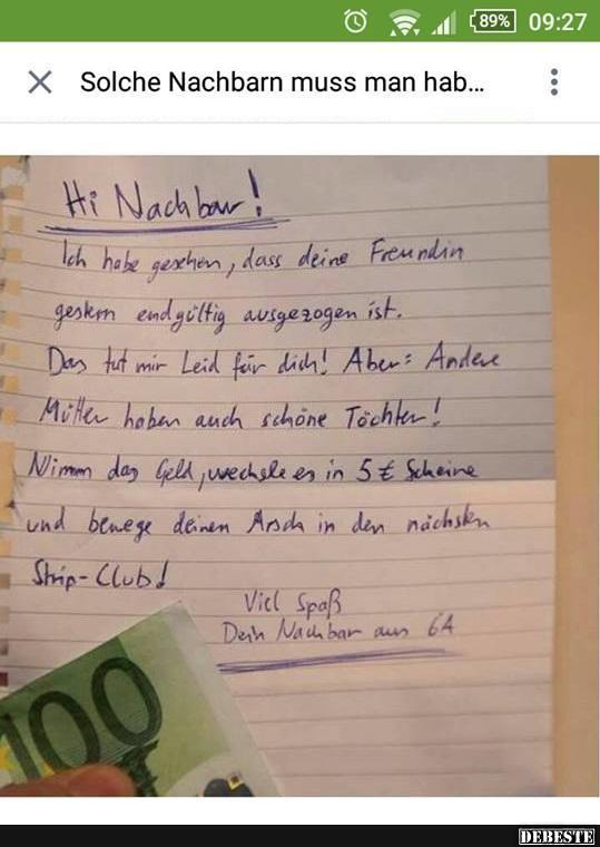 Solche Nachbarn Muss Man Hab Lustige Bilder Spruche Witze
