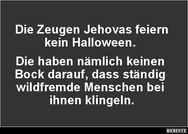 Die Zeugen Jehovas Feiern Kein Halloween Lustige Bilder