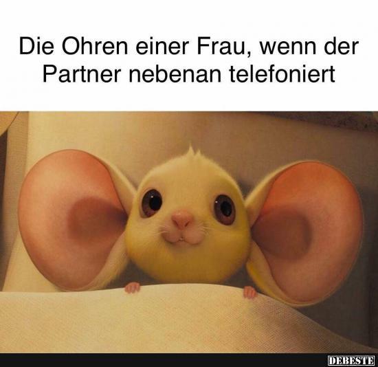 Die Ohren einer Frau, wenn der Partner nebenan telefoniert
