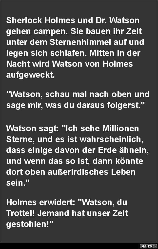 sherlock holmes sprüche Sherlock Holmes und Dr. Watson gehen campen.. | Lustige Bilder  sherlock holmes sprüche