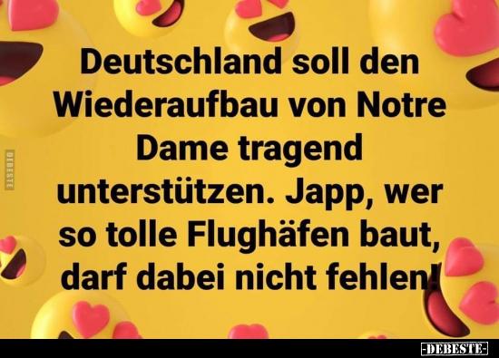 Deutschland Soll Den Wiederaufbau Von Notre Dame Tragend Lustige