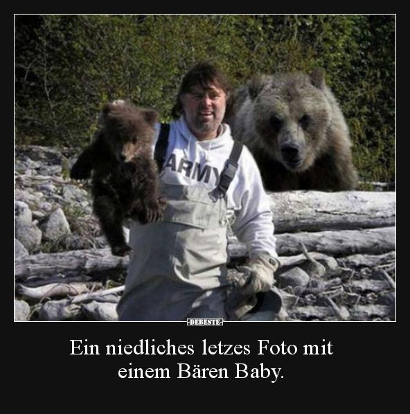 Ein Niedliches Letzes Foto Mit Einem Bären Baby Lustige
